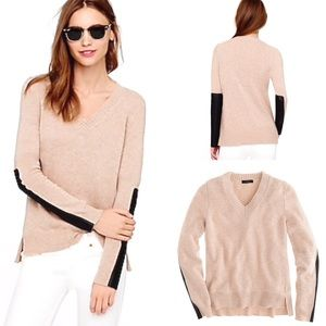 J. Crew Leather-Panel V-Neck Cashmere Wool Sweater